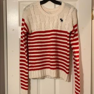 Abercrombie red and white cable knit sweater